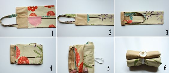 fold-up tote. love the idea, not so much the fabric. nothing floral, please