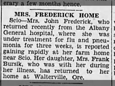Mrs John Fredrick (Mary) home from hospital 1929
