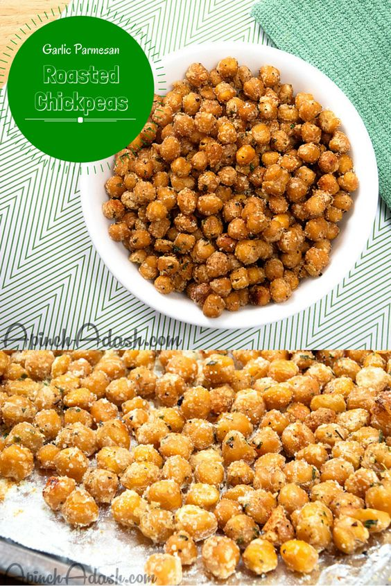 Garlic Parmesan Roasted Chickpeas apinchadash.com Like little mini garlic knots. Soooo good!