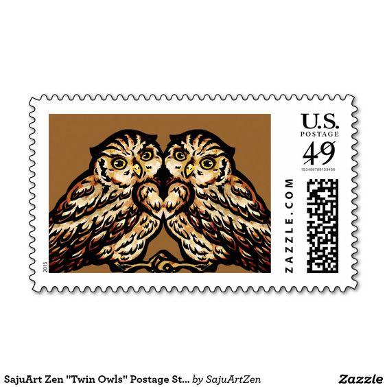 """SajuArt Zen """"Twin Owls"""" Postage Stamp"""