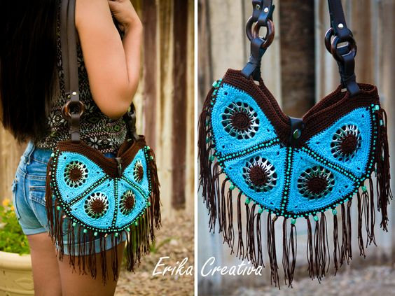 Pop tabs, beads, fringed purse