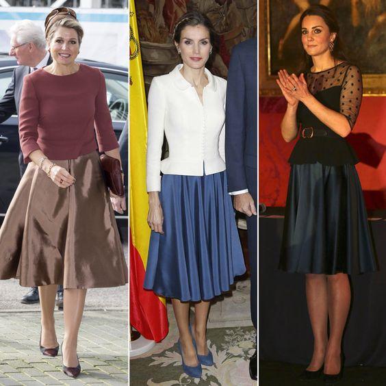 Doña Letizia y su 'juego de tonos' y la falda que ha conquistado a la realeza - Foto 4 & Reina Maxima & Princesa Kate