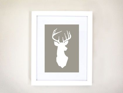 Framed Stag Head Print by little white box Felt.Co.nz