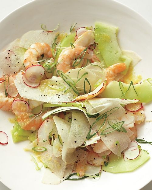 Poached Shrimp with Honeydew, Radishes, Jicama, and Scallions, Wholeliving.com