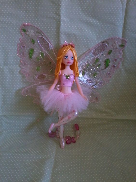 Fada Rosa em Porcelana Fria (Biscuit)