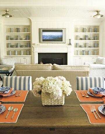 dining/living: Decorating Idea, Dining Room, Built In, Livingroom, Living Room, Builtin, Striped Chair, Family Room