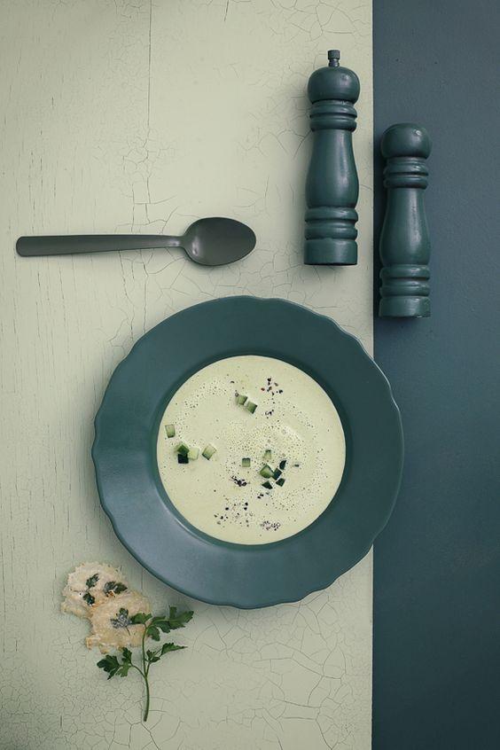 Cold cucumber soup with parmesan crisps.