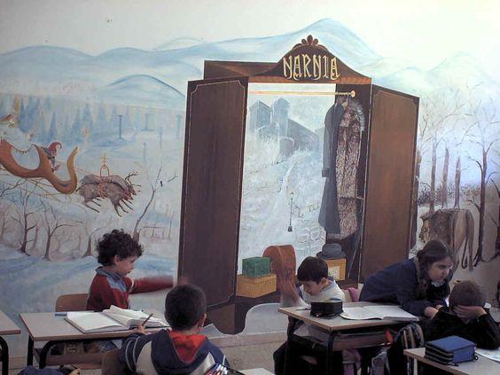 Classroom walls classroom and wall murals on pinterest for Classroom wall mural