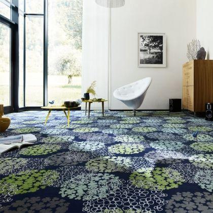 Tapis sur mesure vert anis et bleu Vorwerk Jardin