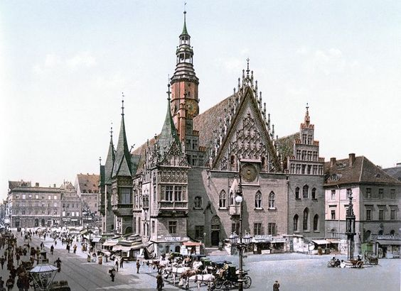 City hall of Breslau, Germany (now: Wrocław, Poland) between ca. 1890 and ca. 1900. View from the east.