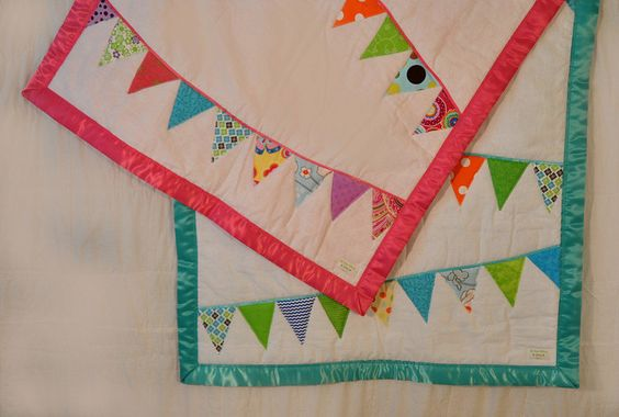 Bunting Quilt. Flag Banner blanket, pennants. Baby Bunting Quilt. Girl Quilt. $60.00, via Etsy.