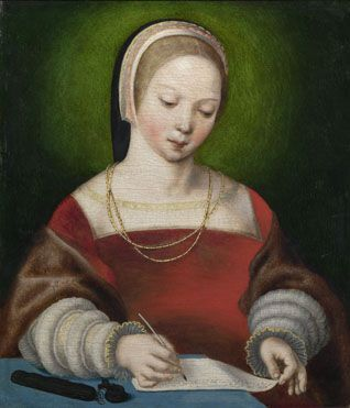 Netherlandish: 'A Girl Writing' about 1520 National Gallery