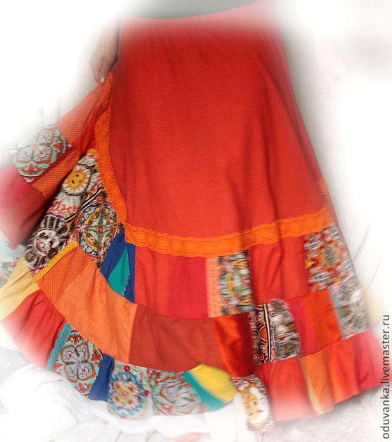 """Купить Летняя юбка """"Зов солнца"""" - рыжий, орнамент, желтый, солнце, солнечный, яркая юбка"""