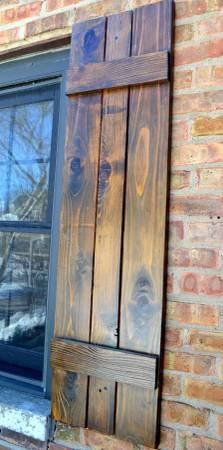 Custom exterior cedar board and batten shutters house reno ideas pinterest board and for How to build board and batten exterior shutters
