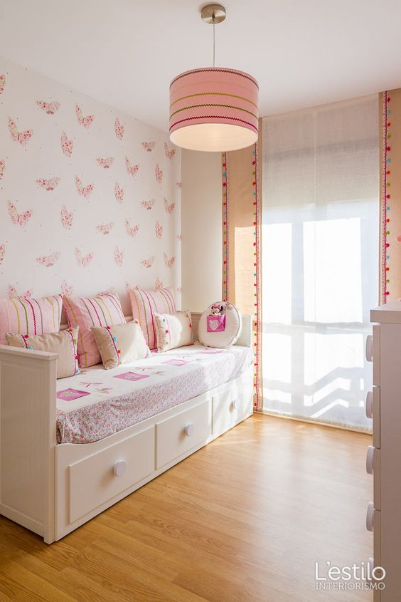 Chicas dulces habitaciones ni a and murales on pinterest for Dormitorios cama 1 05