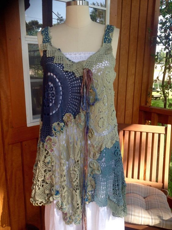 Luv Lucy Crochet Dress tunic Blue Moon Garden by LuvLucyArtToWear: