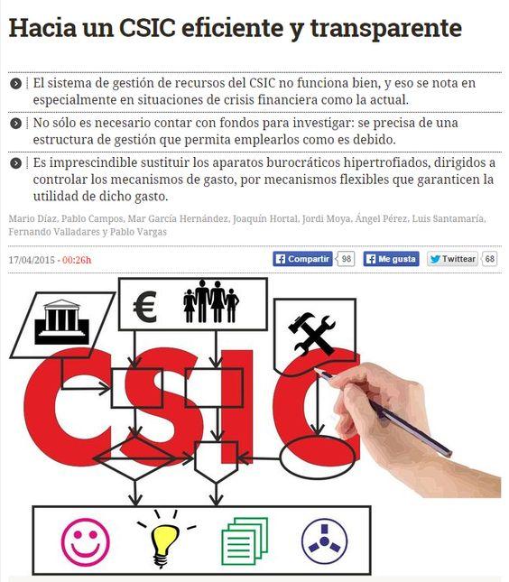 Hacia un @CSIC eficiente y transparente / #CienciaCrítica + @eldiarioes | #sinciencianohayfuturo