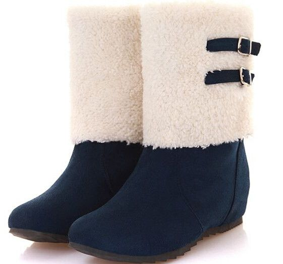 Women autumn winter new fashion short snow boots solid color buckle height increasing soft casual shoes large plus size 40-46