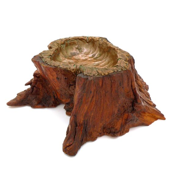 Vintage Burl and Copper Catchall
