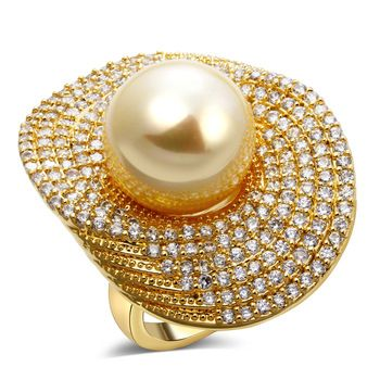 wedding party ring pearl 18k gold plated