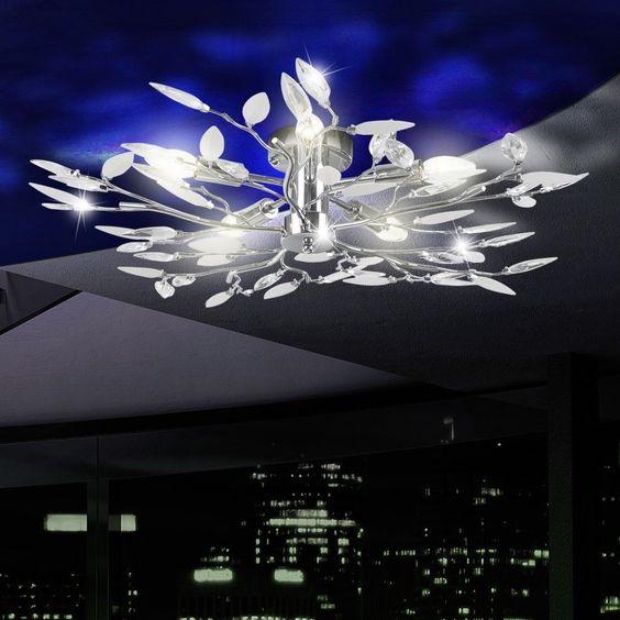 Chrom Deckenleuchte Deckenlampe Wohnzimmer Flur Beleuchtung Lampe ...