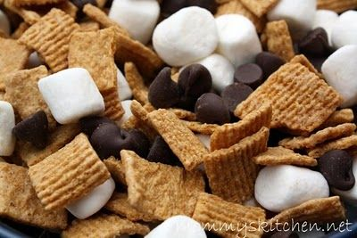 S'mores Trail Mix  15-16 oz box golden grahams cereal or  2 - boxes teddy grahams  1 - 16oz bag miniature marshmallows  1 - 12oz package nestle chocolate chips 2 - cups peanuts (optional)   Empty all ingredients into a large bowl or bag and mix. Store mix in a air tight container.