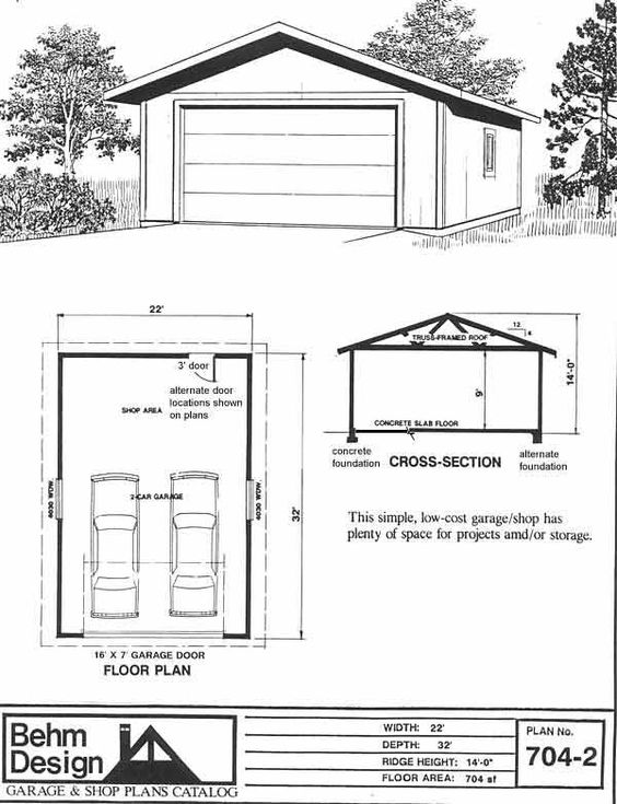 Two car garage with extra space plan 704 2 22 x 32 39 by for Business plan garage automobile