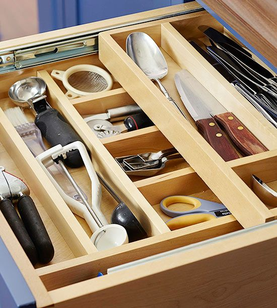 Built-in or added-on, drawer dividers that take advantage of existing height are good ways to increase your organization options. The more you divide the drawer, the more you'll help to reduce clutter! http://www.bhg.com/decorating/storage/organization-basics/storage-strategies/?socsrc=bhgpin122914dividedheightdrawers&page=10