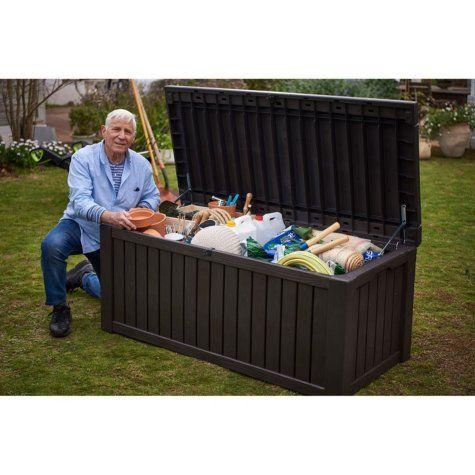 Keter Rockwood 150 Gallon Outdoor Plastic Storage Box Sam S Club Outdoor Deck Storage Box Plastic Outdoor Storage Outdoor Storage Boxes
