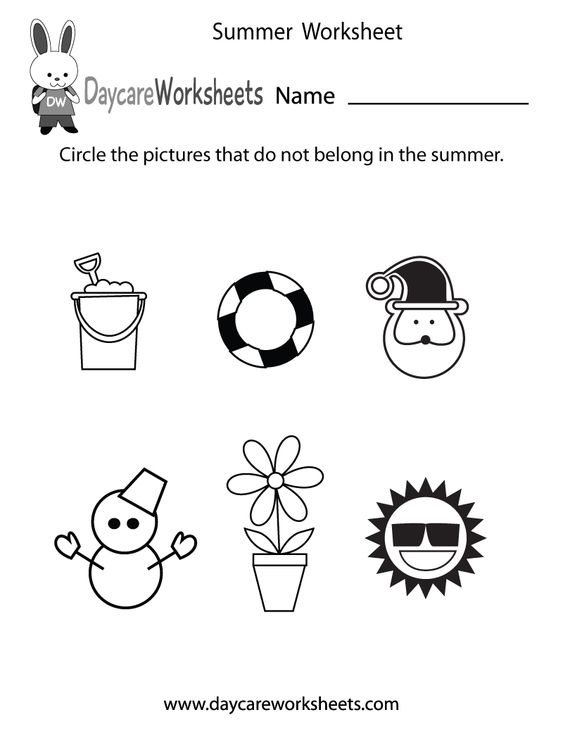 Preschoolers have to circle the pictures that do not belong in summer in this free seasonal worksheet.