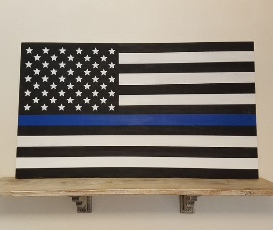 Blue Line Flag Sign, Blue Line Wall Art, Police Flag, American Flag, Police Wall Art, Blue Line Wall Decor, Police Decor, First Responders by CambrisCottage on Etsy