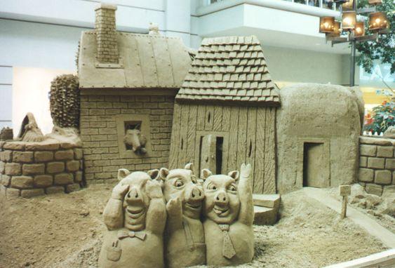 Three little pigs sand art
