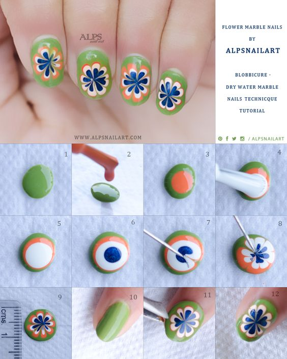 A Step-by-step Guide To A DIY Water Marble #manicure. Get