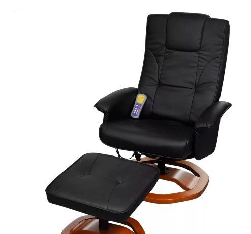 Electric Artificial Leather Massage Chair Black With Footstool Body Full Shiatsu Heat Heated Ergonomic Skb Fami Massage Chair Artificial Leather Room Furniture