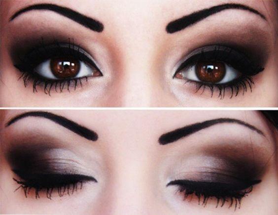Sombras de ojos para ojos marrones oscuros: fotos maquillaje