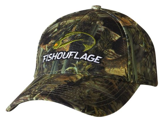 Bass Pattern Full Camo Cap. Constructed from rugged poly twill fabric with anti-microbial treatment for freshness and wicking moisture management keeps the cap cool. Fishouflage logo on the front of the cap.