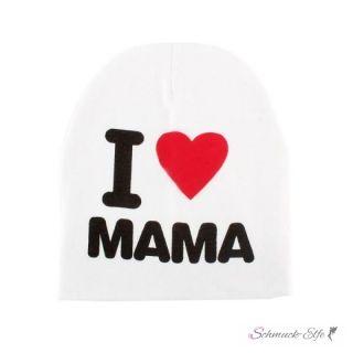 Mütze / Beanie I Love MAMA weiß