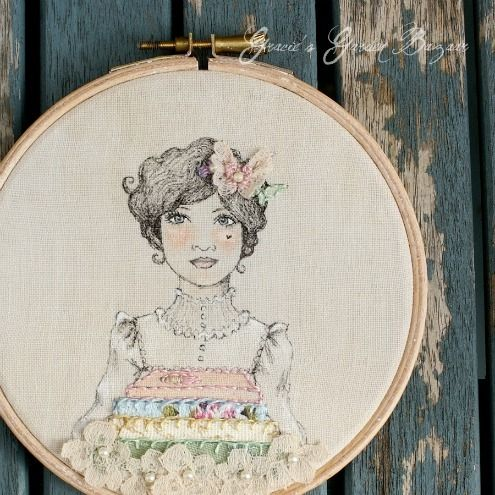 Gracie's Garden Bazaar: Pigment ink, fabric paints and stitching