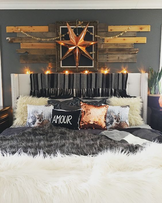 Copper sequin pillow and love the on pinterest for Eclectic master bedroom ideas
