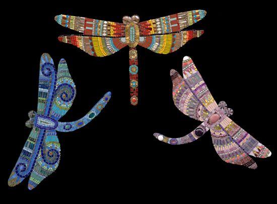 "Three Dragonflies    22""x15"", 18""x10, 18""x10""    glass, porcelain, beads, millefiori, gold    2007"