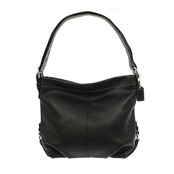 Authentic Coach Black Pebbled Leather Duffle Shoulder Bag ...