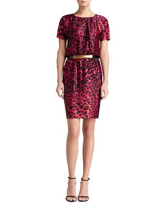 Short-Sleeve Leopard Silk Dress & Medium Leather Hip Belt by St. John Collection at Neiman Marcus.