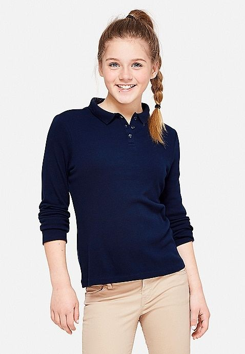 Justice Girls School Uniform Navy Blue Solid Polo Shirt Size 14//16 Plus NWT
