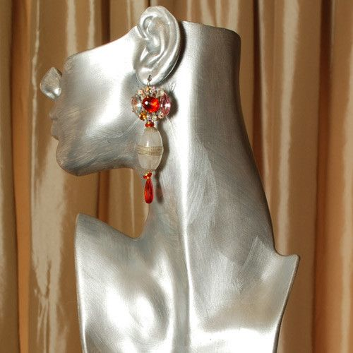 """Bright Spot"" red/white/clear statement earrings by Sumaris Jewelry - Vintage Czech buttons, lucite, cubic zirconia. Length is 3.25 inches."