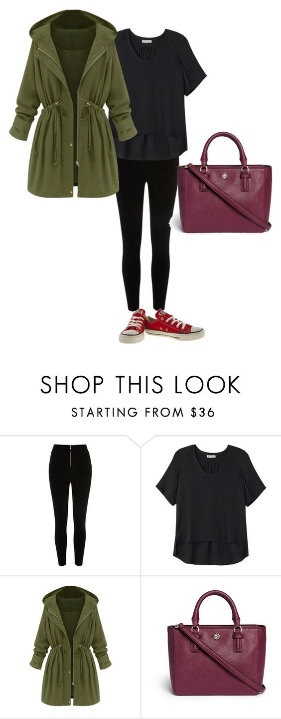 """Street Style"" by michelle-2386 on Polyvore featuring River Island, Rebecca Taylor, Tory Burch and Converse"