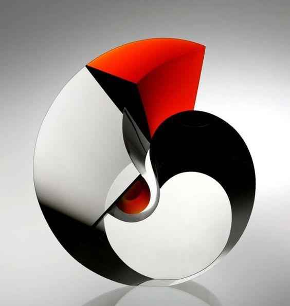 Vlastislav Janacek, Czech Republic: 'Red Rooster 2', optic glass, cut and polished, 2012.: