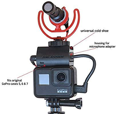 Anlasser Microphone Mount For Gopro Hero 7 6 5 And Housing For Mic Adapter Works With Original Gopro Case With Universal Cold Sh Gopro Case Gopro Microphone