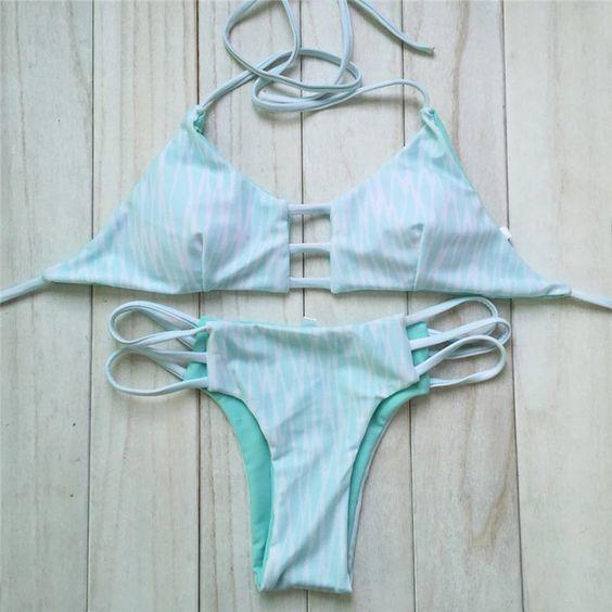 New Bandage Swimwear Reversible Halter Bikini Top Cut Out Swimsuit Brazilian Floral Print Bikini set Strappy Bathing suit