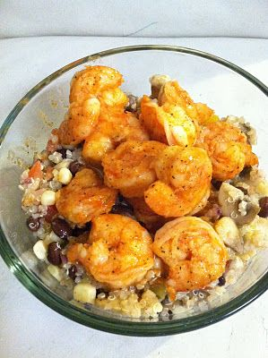 shrimp and quinoa in a lemon vinigrette