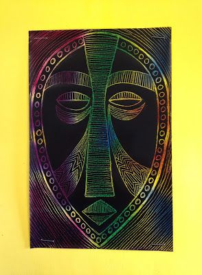African Masks with Scratch Art Paper: